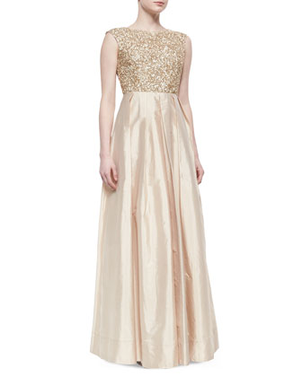 Cap-Sleeve Sequin-Bodice Ball Gown, Light Gold