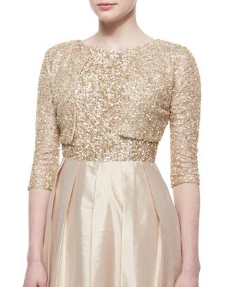 Three-Quarter-Sleeve Sequined Bolero & Cap-Sleeve Sequin-Bodice Ball Gown