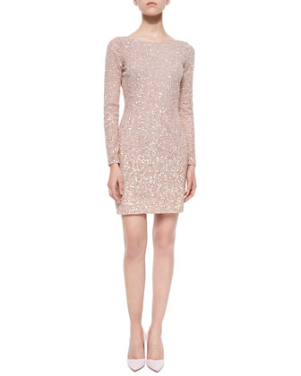 Long-Sleeve Sequined Cocktail Dress, Blush