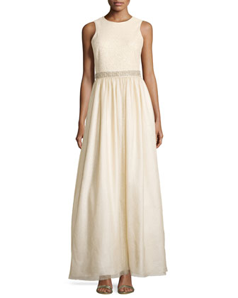 Sleeveless Tulle Gown w/ Bead Detail, Light Gold