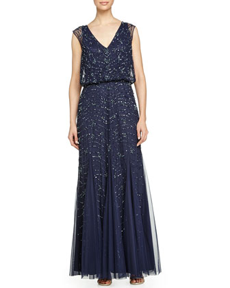 Sleeveless Beaded Godet Gown, Twilight