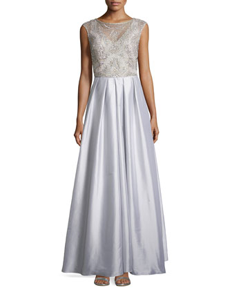 Beaded Bodice Cap-Sleeve Gown, Silver