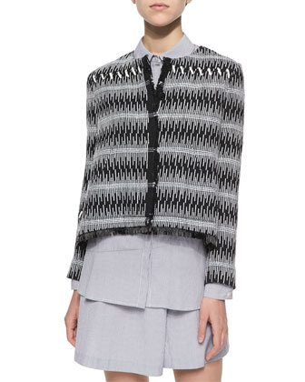 Patterned Boxy Tweed Jacket, Button-Back Striped Blouse & Striped Wide-Leg ...