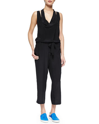 Draped Tie-Waist Silk Jumpsuit