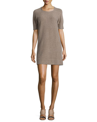Wool-Blend Half-Sleeve Sweater Dress