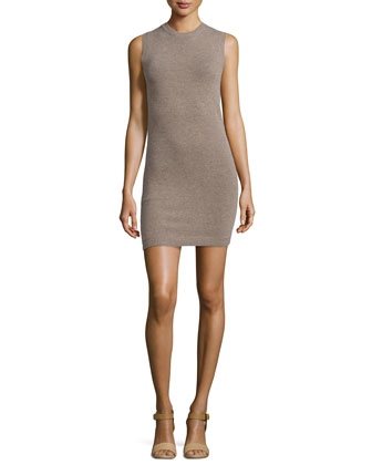 Sleeveless Fitted Knit Dress, Gray