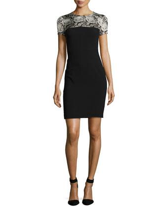Floral Lace-Print Paneled Sheath Dress