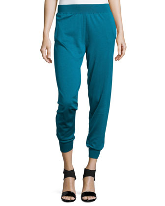 Wool-Blend Cinched Ankle Pants