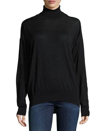 Wool Fine-Gauge Turtleneck Sweater