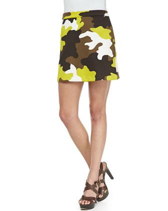 Camo-Print Twill Miniskirt