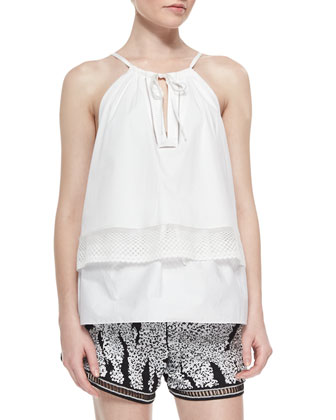 Layered Sleeveless Poplin Top