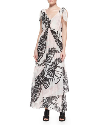 Printed Tie-Shoulder Maxi Dress