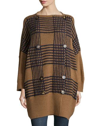 Geometric-Inspired Wool Sweater Coat