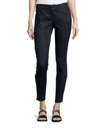 Skinny Denim Jeans with Ankle Zips, Blue