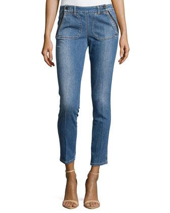 Skinny Ankle Button-Waist Denim Trousers, Blue