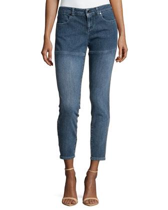 Straight-Leg Seam-Detail Trousers, Blue