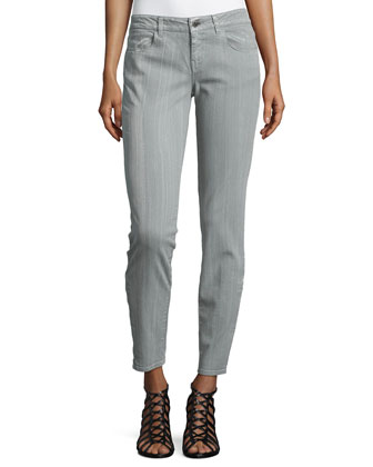 Skinny Stretch Denim Jeans, Gray