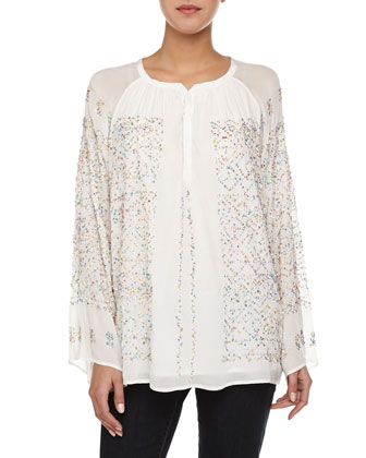 Milky Way Beaded Chiffon Top