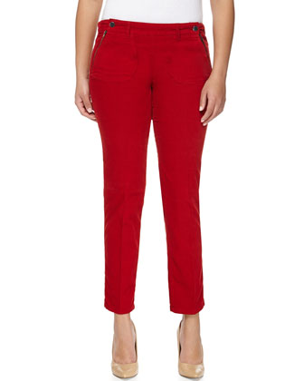 Double-Button Skinny Ankle Pants, Red