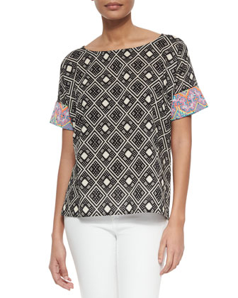 Tribal-Pattern Short-Sleeve Top