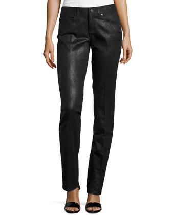 Coated Low-Rise Straight-Leg Pants, Black