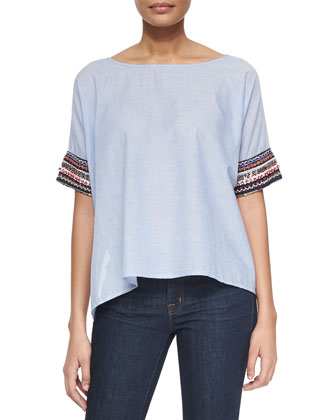 Contrast-Cuff Voile Top