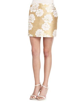 Metallic Floral-Print Tweed Skirt