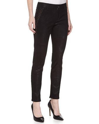 Shimmery Denim Straight-Leg Jeans, Black
