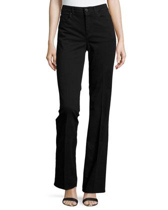 Flare-Leg Denim Trousers, Black