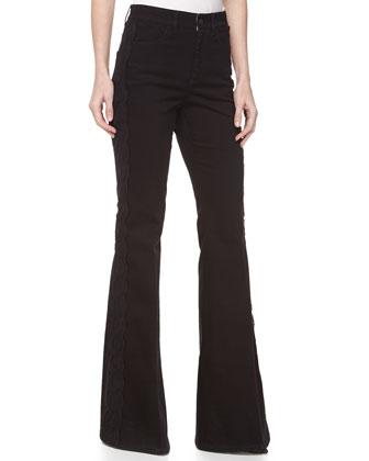 Lace-Trim Flare-Leg Denim Trousers, Black