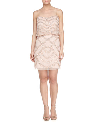 Beaded Cocktail Dress, Champagne