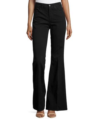 Dramatic Flare-Leg Denim Trousers, Black