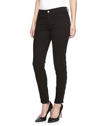 Skinny Leg Denim Jeans w/ Lace Panels