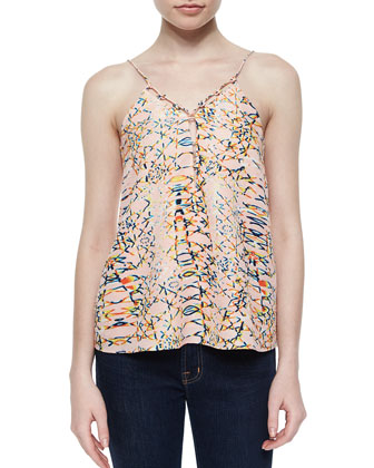 Maya Printed Cutout Silk Top