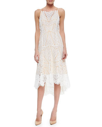 Dropped-Skirt Lace Dress