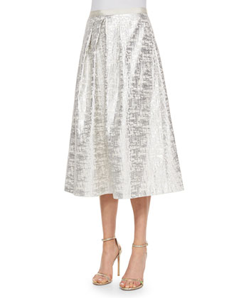 Jacquard Midi Ball Skirt, Silver
