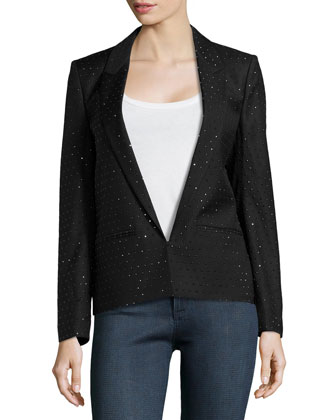 Notched Collar Beaded Wool Blazer