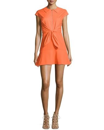 Crepe Woven Tie-Front Dress, Orange