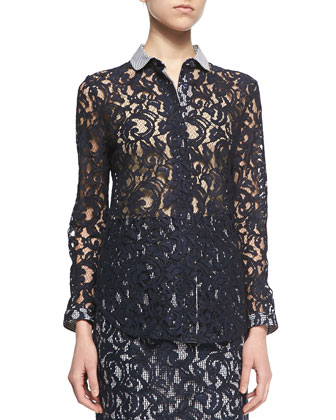 Contrast-Trim Lace Blouse