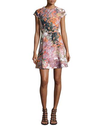 Molleton Botanical-Print Cotton Cap-Sleeve Dress