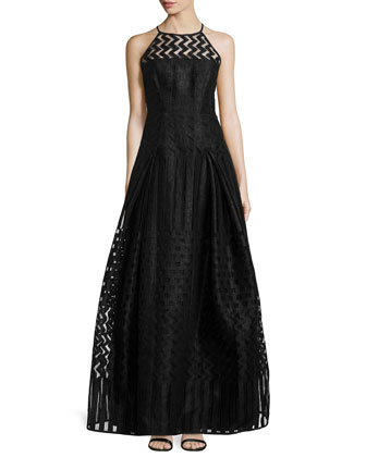 Sleeveless Fil Coupe Gown, Black