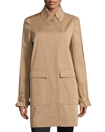 Oversized-Pocket Trench Coat
