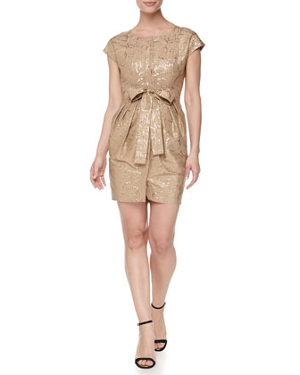 Snake Jacquard Sheath Dress, Gold