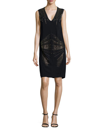 V-Neck Dress with Embroidered Beading