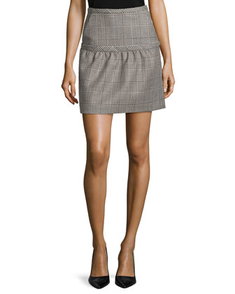 Wool-Blend Glen Plaid Skirt