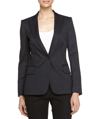 One-Button Wool Blazer, Black
