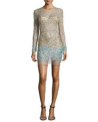 Long-Sleeve Beaded Cocktail Dress