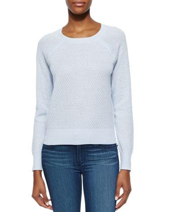 Popcorn-Knit Long-Sleeve Sweater
