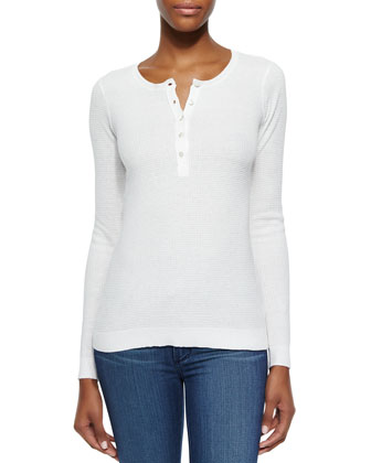 Waffle-Pattern Henley Top, Snow