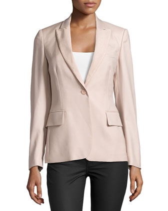 One-Button Notch-Lapel Jacket, Nude